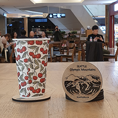 We will engrave the coffee shop logo.  36pcs of coasters can be made by sending 1 logo